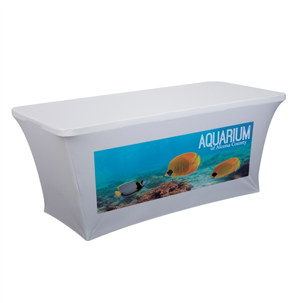 6ft Stretch Table Cover Front Full Color Imprint