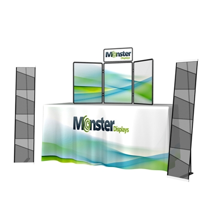 Presenter Tabletop with 6ft Draped Table Throw and Literature stand