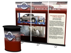 8ft Retractable Banner Wall with Solo Podium